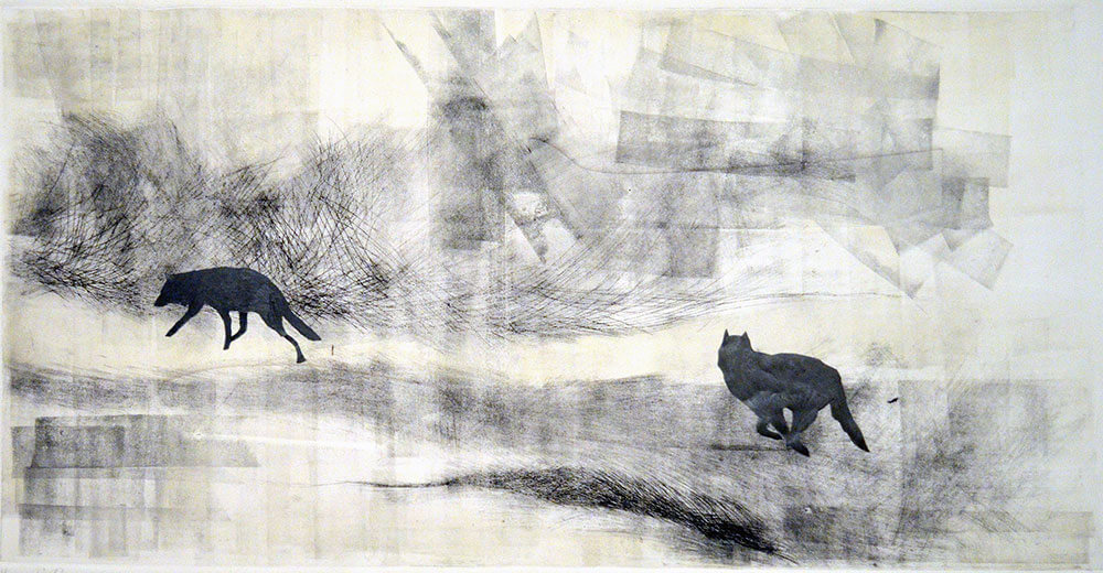Animals, monotype dry point, collage on cotton paper, 50 x 85 cm., 2013.