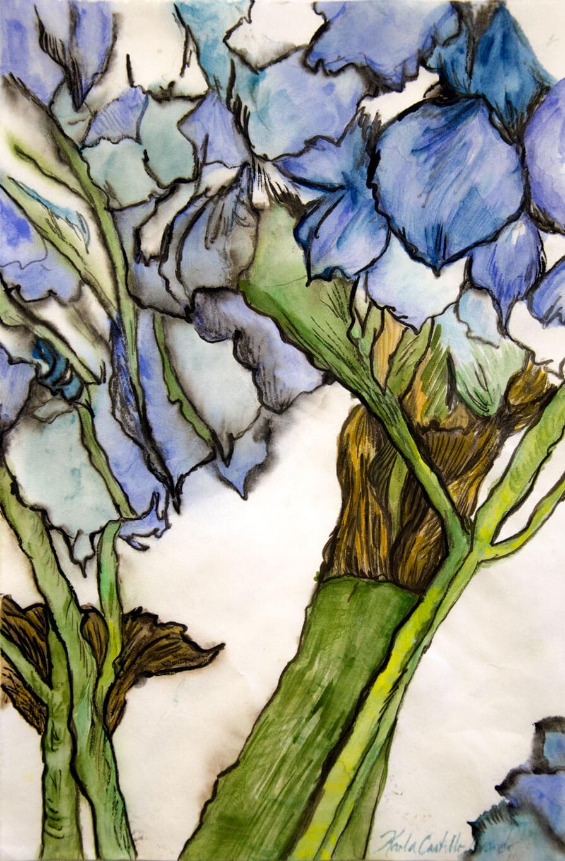 Il y Avait des Fleurs, watercolour on Japanese paper, 31.6 x 20.3 cm., 2019.