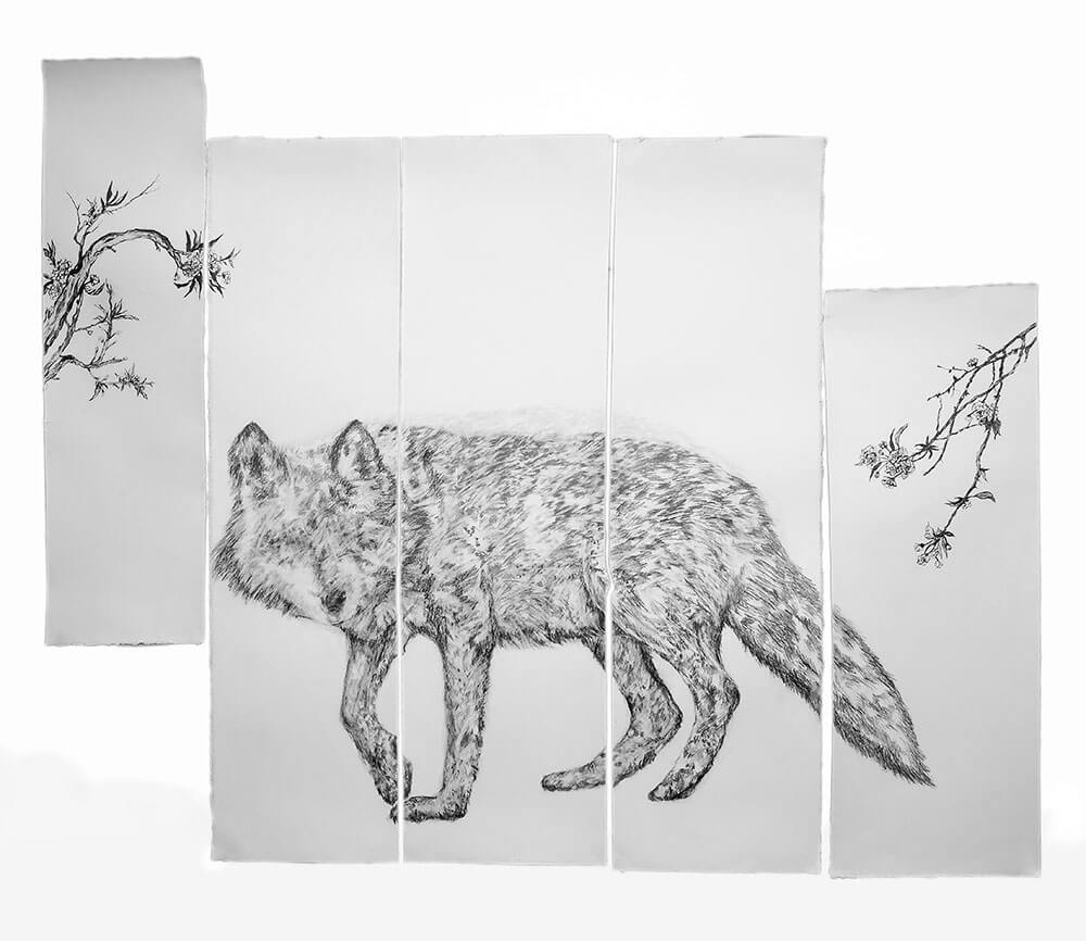 Animals, graphite, watercolour graphite on cotton paper, 158 x 192 cm., 2016-2017.