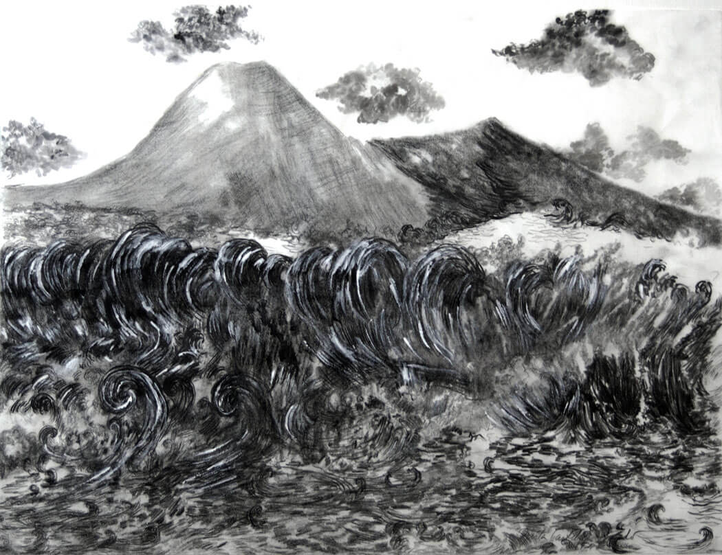 Landscapes, sumi-e on sumi-e paper, 50.5 x 65.5 cm., 2017.