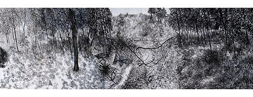 Landscapes in Transformation, 69 cm x 10 m., ink on rice paper, 2013.