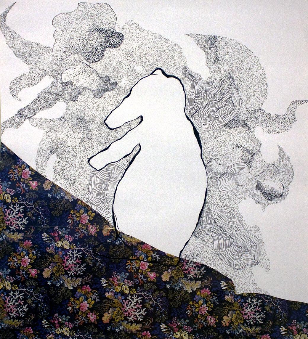 Animals, graphite, oil pastel on cotton paper, x cm., 2006.