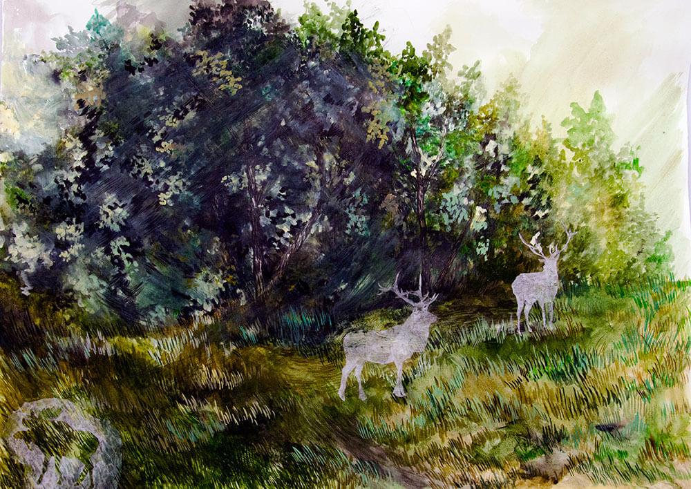 Animals, collage, watercolour on cotton paper, 105 x 190 cm., 2015.