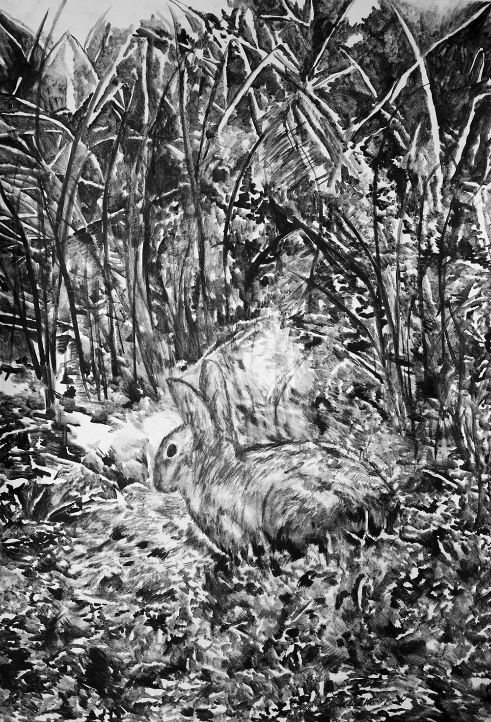 Animals, watercolour graphite on cotton papere, 102 x 66 cm., 2017.
