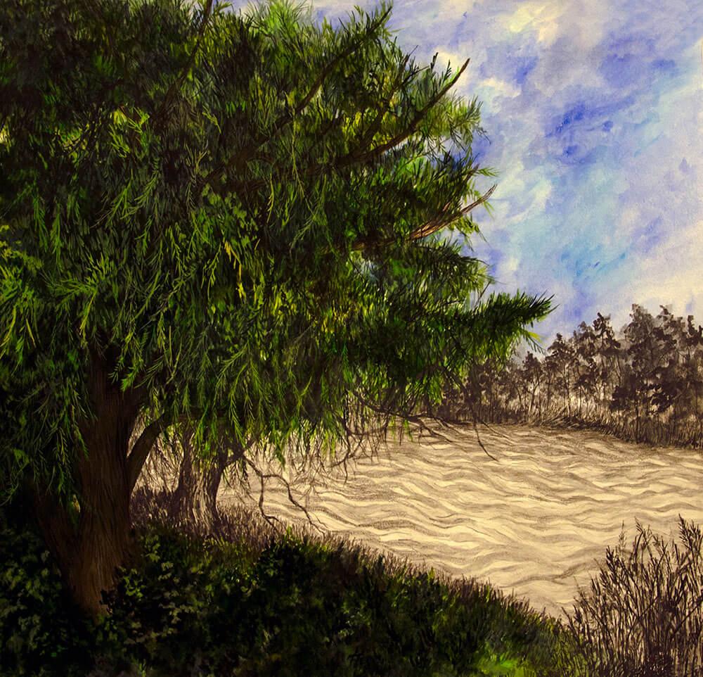 Landscapes, watercolour, graphite on cotton paper, 70 x 72 cm., 2014.