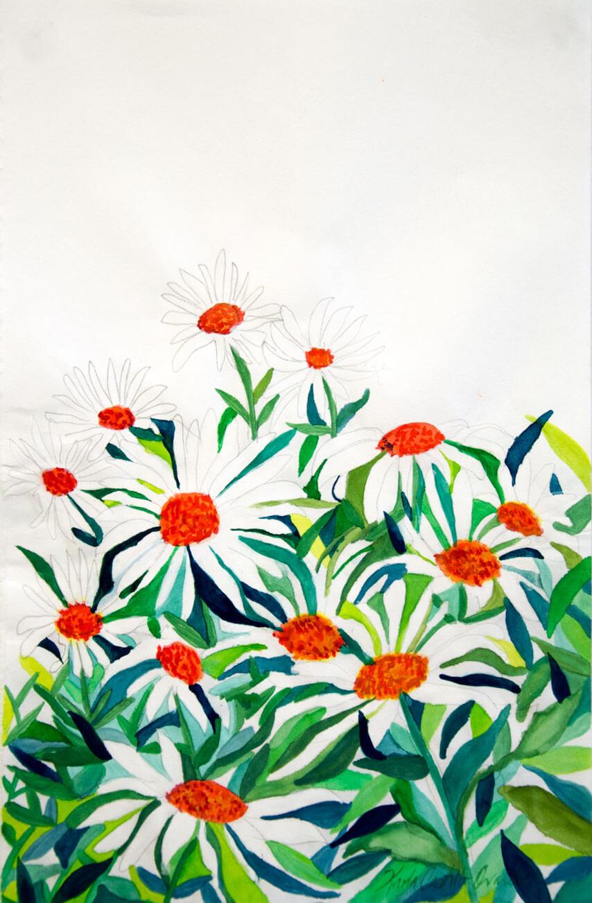 Il y Avait des Fleurs, watercolour, ink on Japanese paper, 31.6 x 20.3 cm., 2019.