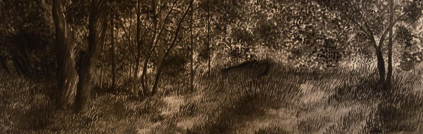 Landscapes, sumi-e on cotton carton, 40 x 150 cm., 2013.