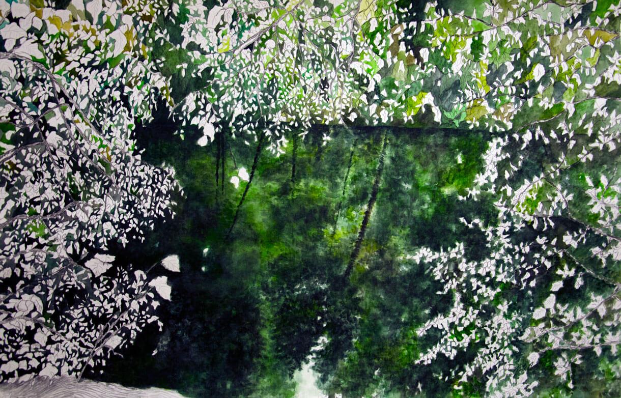 Landscapes, watercolour on cotton paper, 105 x 190 cm., 2015.