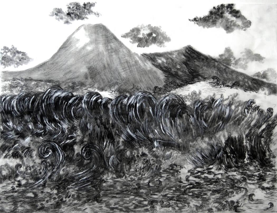 Landscapes, sumi-e on sumi-e paper, 50.5 x 65.5 cm., 2017.