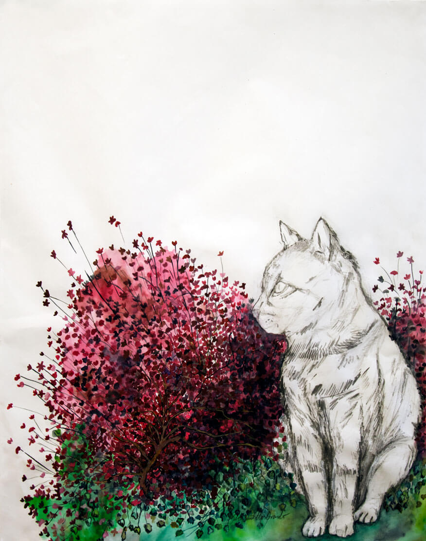 """""""Les Chats, graphite, watercolour, ink on Japanese paper, 64 x 49.5 cm., 2019. """""""